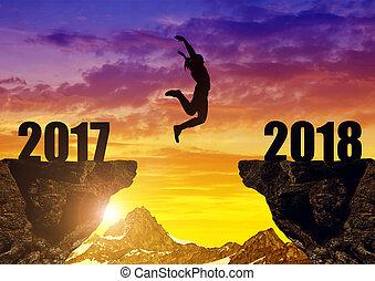 女孩, 跳跃, 对于, the, 新年, 2018