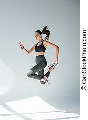 女孩, 跳躍, 運動裝