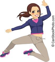女孩, 跳躍, 運動, 跳舞