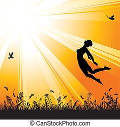 女孩, 跳躍, 黑色半面畫像, 背景, 自然