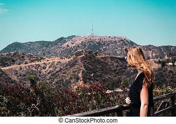 女孩, 近, 好萊塢, 小山, 在, 洛杉磯, 加利福尼亞