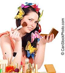 女孩, 适用, makeup.
