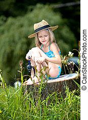 女孩, 釣魚, 湖, 年輕