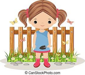 女孩, 铁锨, 园丁