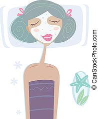 女孩, 面罩, 海, -, 面部, 礦泉