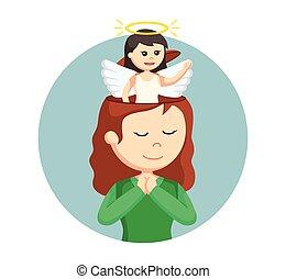 女孩, 頭, 她, 天使