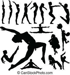 女孩, 體操, 矢量, 黑色半面畫像