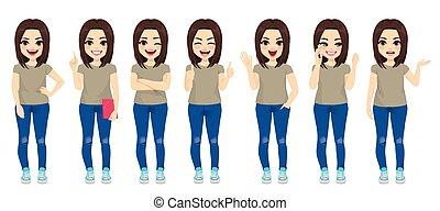 女孩, 黑發淺黑膚色女子, 集合, 青少年, 彙整