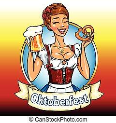 女孩, bavarian, 啤酒, 椒鹽卷餅, 相當