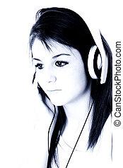 女孩, headphones, 青少年