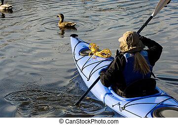 女孩, kayaking