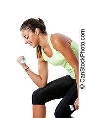 女孩, weights., 测验, 青少年, 有吸引力