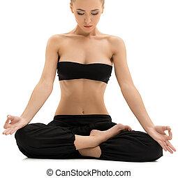 女孩, yoga., 考虑, 位置, 坐, 莲