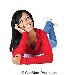 女性がリラックスする, 若い, の上, 見る, 微笑