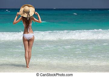 女性が日光浴をする, トロピカル, tan, 浜, 銅