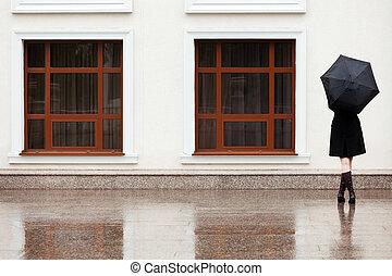 女性との 傘, 雨
