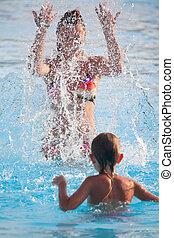 女性とチャイルド, 水泳
