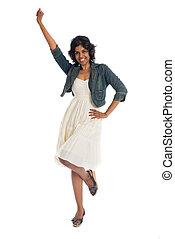 女性のダンス, 隔離された, 元気づけること, 白, 祝う, スタジオ, 幸せ