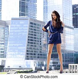 女性の伸張, 青, セクシー, 超高層ビル, 服