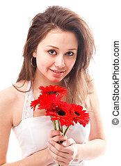 女性の保有物, に対して, 背景, 白い花, 赤, 束