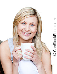 女性の保有物, カップ, コーヒー, 美しい