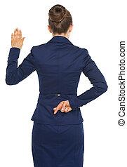 女性の保有物, ビジネス, の後ろ, 背中, 指, 間, 交差させる, 真実, 宣誓, 後部光景