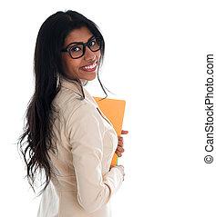 女性の保有物, ビジネス, インド ファイル, フォルダー, document.