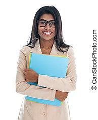 女性の保有物, ファイル, ビジネス, folder., オフィス, indian
