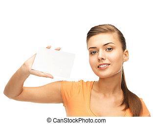 女性の保有物, ブランク, 微笑, 白, カード