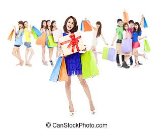 女性の保有物, 色, 幸せ, 袋, 贈り物の箱