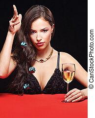 女性の保有物, 若い, さいの目に切る, かなり, テーブル, 赤
