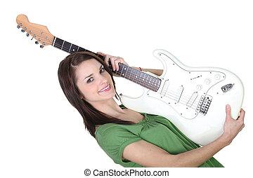 女性の保有物, 若い, ギター, 背景, 白