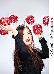 女性の保有物, 赤, ボール