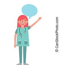 女性の医者, ユニフォーム, 聴診器, スピーチ泡