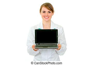 女性の医者, ラップトップ, 提示, 微笑, スクリーン, ブランク, 医学
