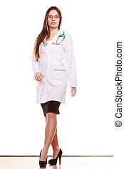 女性の医者, 医療の健康, 心配, stethoscope.
