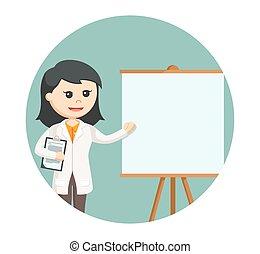 女性の医者, 寄付, 背景, 円, プレゼンテーション