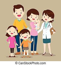 女性の医者, 赤ん坊, かわいい, 家族