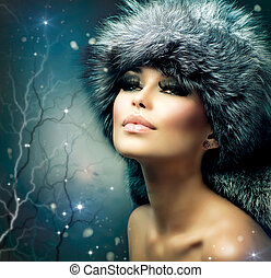 女性の女の子, portrait., 冬, クリスマス帽子, 美しい, 毛皮