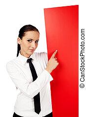 女性の指すこと, ∥において∥, 赤, 広告板