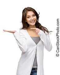 女性の指すこと, の上, 手, やし, ジェスチャー