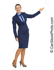 女性の指すこと, ビジネス, スペース, 長さ, フルである, 肖像画, コピー
