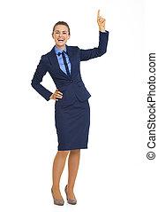 女性の指すこと, ビジネス, スペース, 長さ, フルである, 肖像画, コピー, 幸せ