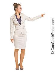 女性の指すこと, ビジネス, スペース, 長さ, フルである, 肖像画, 微笑, コピー