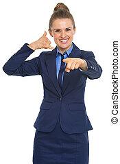 女性の指すこと, ビジネス, 呼出し, カメラ, 手ジェスチャー