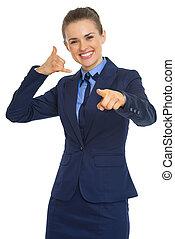 女性の指すこと, ビジネス, 呼出し, カメラ, 手ジェスチャー, 幸せ