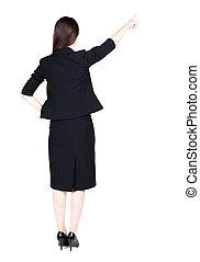 女性の指すこと, ビジネス, 背中, 若い, ブルネット, wall., 光景