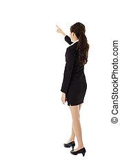 女性の指すこと, ビジネス, 若い, 後部光景