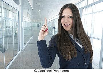 女性の指すこと, ビジネス, 若い, 手, 微笑