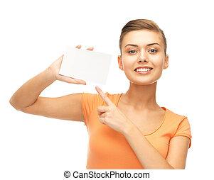 女性の指すこと, ブランク, 微笑, 白, カード